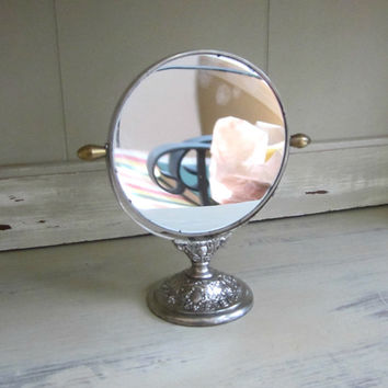 Vintage Standing Vanity Mirror , Ornate Silver Magnifying Mirror , Bathroom 2 Way Swivel Makeup Mirror