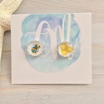 Honey Bee Stud Earrings - Bee Jewelry - Honeycomb Jewelry - Bumble Bee - Honey Bee - Gardening Gift - Gift for Her - Insect Jewelry - Nature
