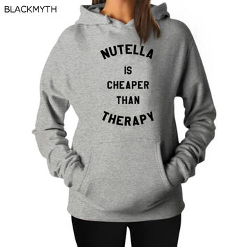 BLACKMYTH Women's Long Sleeve Hoody Sweatshirt Female Fashion NUTELLA IS CHEAPER New Arrival Women's Hoodies White Cotton Top