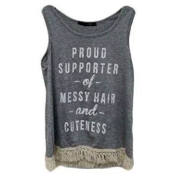 """Girls """"Proud Supporter of Messy Hair and Cuteness w/Lace Bottom Tank Top, Grey"""