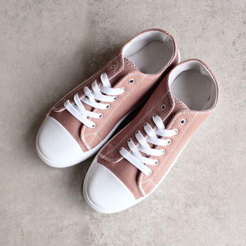 canvas low top sneakers - mauve