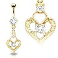 Body Accentz™ Belly Button Ring Navel Gold Plated Heart CZ Solitaire Body Jewelry 14 Gauge