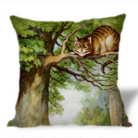 Cheshire Cat with Alice in Wonderland on Square Pillow Cover