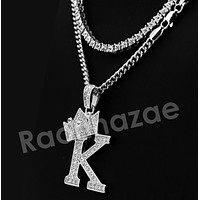 Iced Out Crown K Initial Pendant Necklace Set.