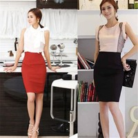 OL Women High Waist Fit Knee Length Straight Solid Stretch Business Pencil Skirt Saia Free Shipping