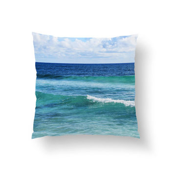 Quintana Roo - Throw Pillow Cover, Blue Green Coastal Ocean Waves Beach Surf Style Ocean Home Decor Accent. In 14x14 16x16 18x18 20x20 26x26