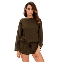 Army Green Oversize Bodice Long Sleeve Hollow-out Back Romper