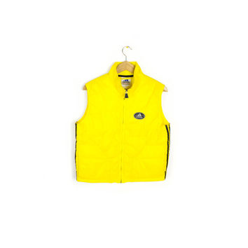 90s ADIDAS puffer vest - vintage 1990s - black & yellow - quilted - insulated vest jacket
