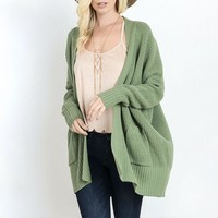 southern comfort open knit cardigan - sage