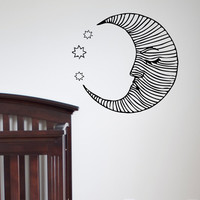 Wall Decals Vinyl Sticker Moon Stars Night Decal Nursery Housewares Design Mural Art Home Decor Bedroom Dorm Kids Room C057