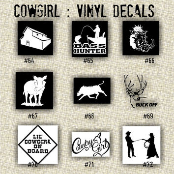 COWGIRL vinyl decals | country western | country girl | car decals | car stickers | laptop sticker - 64-72