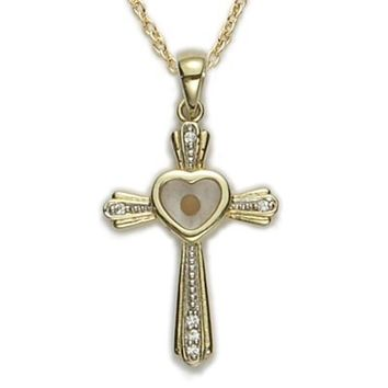 14K Gold Plated Over .925 Sterling Silver cross crucifix Pendant and CZ Crystal Stones with a Centered Heart Mustard Seed Faith Comes with a 18'' Chain Necklace in a deluxe velvet box