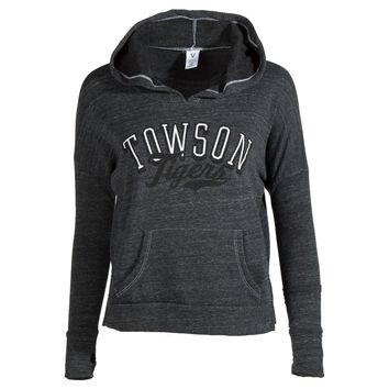 Official NCAA Towson University Tigers Tu Doc The Tiger Hail Towson Women's Cropped Fit Fleece Pullover SweaT-Shirt