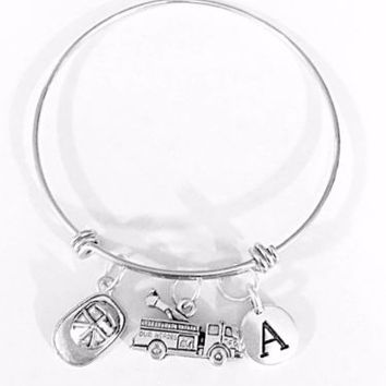 Adjustable Bangle Charm Bracelet Fire Truck Hat Firefighter Wife Initial Gift