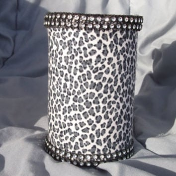 Black Gray and White Cheetah Print with Rhinestone Trim Pencil/Makeup brush/Silverware Holder