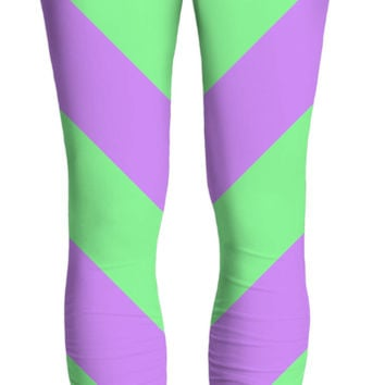 Pastel stripes pattern yoga pants, symetric diagonal lines, vector image, green and purple