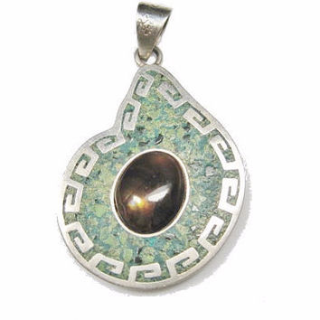 Mexican Sterling Fire Agate Turquoise Pendant