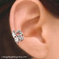 925 Ivy Leaf - Sterling Sliver ear cuff earring jewelry - non pierced earcuff clip 011013