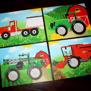 Set of 4 Farming Transportation Trucks Boys Bedroom Stretched Canvases Kids Canvas Wall Art 4CS015
