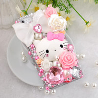 3D Pink Bling and Pearls Hello kitty Case