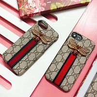 GUCCI Fashion New Pearl Bee Stripe More Letter Women Men Protective Cover Phone Case
