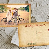 "50 Christmas Greeting Cards - Jolly Christmas Vintage Photo Personalized 4""x6"""
