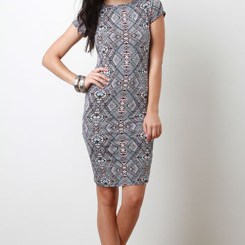 Pastel Tribal Bodycon Dress