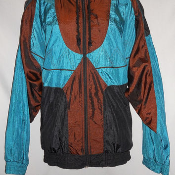 Vintage 80s Windbreaker Jacket Iridescent Teal Electric Brown Black Geometric Sun Terra Size Medium Neon