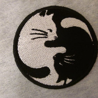 ying yang cats cross  on patch