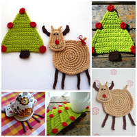 Christmas coasters Set of 2 Christmas Reindeer and Christmas Tree