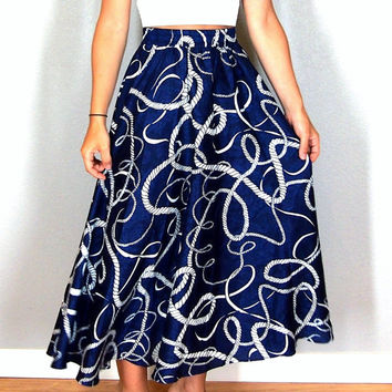 Vintage Nautical Print Navy Blue and White Midi Skirt, Rope Pattern, Size Small, Extra Small, Perfect for Summer!