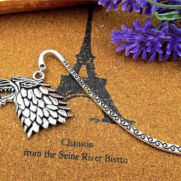 Antique Silver Bookmark With Game of Thrones Stark House Sigil Wolf