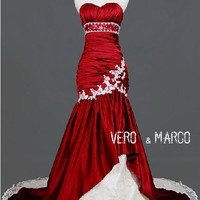 Red and white sweetheart neckline merimaid ruched red lace satin Christmas wedding dress evening dress ET259