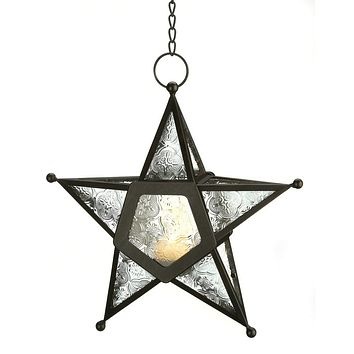 Iron And Clear Glass Star Candle Holder Lantern
