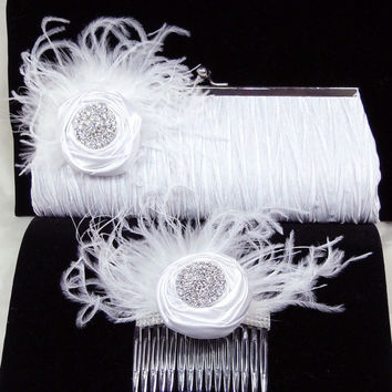Bridal Clutch Purse and Fascinator Comb Set White Rosettes, Feathers and Rhinestones Pleated Satin