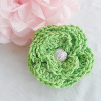 Ready To Ship Beautiful Large Crochet Hair Clip Hair Bow Flower Lime Green Color Silver Glitter