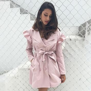 8DESS Ruffle trench coat women outerwear & coats sash pocket streetwear trench Casual outwear coat