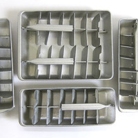 vintage aluminium ice cube trays. set of 5
