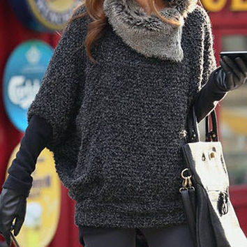 Deep Gray Fur Collar Turtleneck Sweater