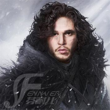 Game of Thrones Men's Jon Snow Short The Coils Black Heat Resistant Cosplay Costume Wig