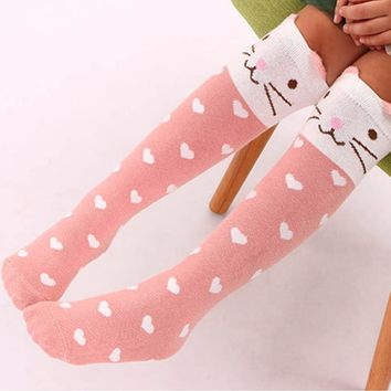 2017 Sweet Cartoon Stripped Dot Thigh High Over the Knee Socks Fashion Half Leg Cotton Girls Stockings Warm Perfect Gifts j3