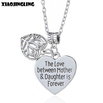 XIAOJINGLING Individual Heart Necklaces & Pendants The Love Between Mother & Daughter Is Forever Necklace Mother's Day Gifts