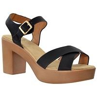 Womens Platform Sandals Open Toe Crisscross Strap Chunky Block Heel Shoes Black