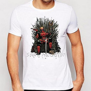 2016 Newest Cool Deadpool on the Iron Throne T-Shirt Design Fashion Game of thrones Tshirts Men's Short Sleeve Tee Tops