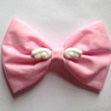 Pastel Pink Angel Wings Hair Bow Sweet Lolita Fairy Kei Kawaii Cute