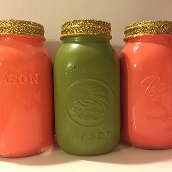 Rustic Painted Mason Jars, Mason Jar Centerpiece, Glitter Dipped Mason Jar Set, Avocado Color Jars, Coral Mason Jars, Gold Glitter Vase Gift