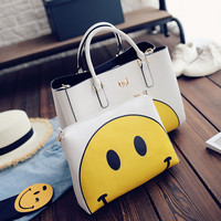 Women Fashion Emoji Handbag Shoulder Bag Large Tote Ladies Purse