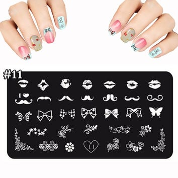 2016 Lot Design Color Pop Nail Stamping Plates Made Of Stainless Butterfly Flower Image Fashion DIY Nail Art Templates 12X6cm