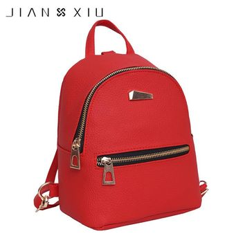 JIANXIU Women's Backpacks for Teenage Girls Schoolbag Backpack Fashion Mini Bag Preppy School Style PU Leather Rucksack mochila