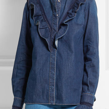 Stella McCartney - Lace-trimmed ruffled denim shirt